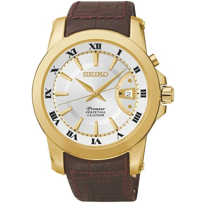 Seiko Premier Watch Strap SNQ144P1 Brown Leather
