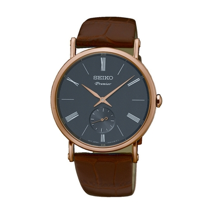 Seiko Premier  Watch Strap SRK040P1 Brown Leather
