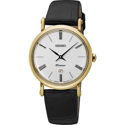 Seiko premier Watch Strap SXB432P1 Black Leather 16mm