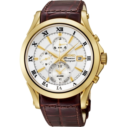 Seiko Premier Watch Strap SNAF22P1 Brown Leather