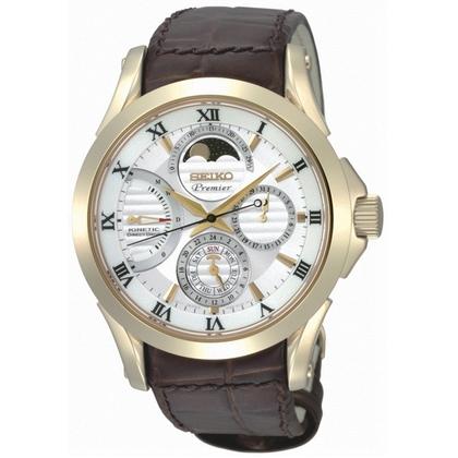 Seiko Premier Watch Strap SRX004P1  Brown Leather