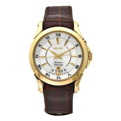 Seiko Premier Watch Strap SNQ118P1 Brown Leather