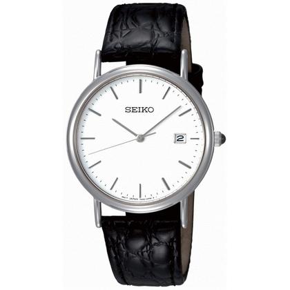 Seiko Watch Strap SKK693P1 Black Leather 18mm