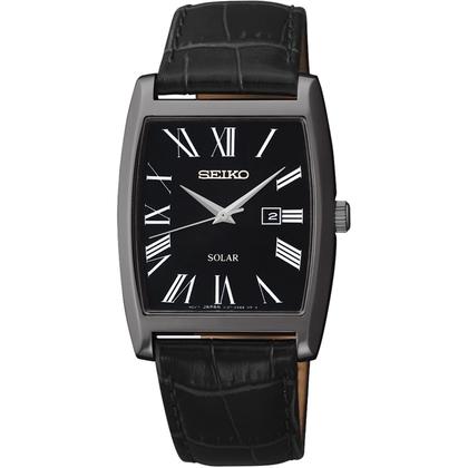 Seiko Solar Watch Strap SUT887P1 Black Leather