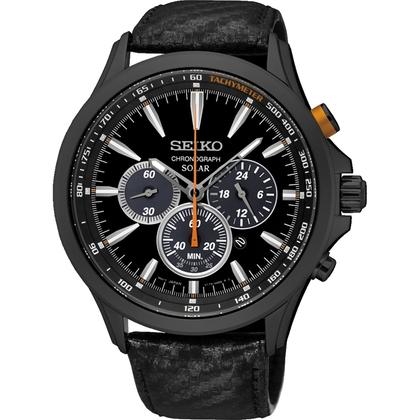 Seiko Solar Watch Strap SSC499P1 Black Leather