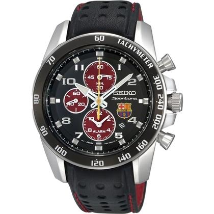 Seiko Sportura FC Barcelona Watch Strap SNAE75P1 Black Leather