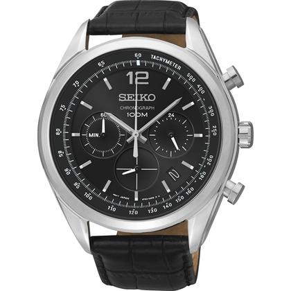 Seiko Quartz Watch Strap SSB097P1 Black Leather