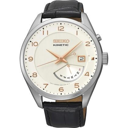 Seiko Kinetic Watch Strap SRN049P1 Black Leather