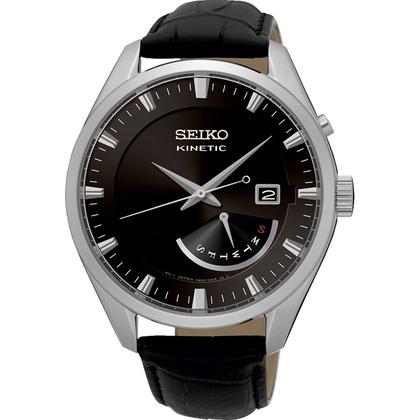 Seiko Kinetic Watch Strap SRN045P2 Black Leather