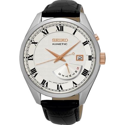 Seiko Kinetic Watch Strap SRN073P1 Black Leather
