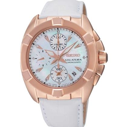 Seiko Velatura Chronograph Watch Strap SNDX92P2 White Leather