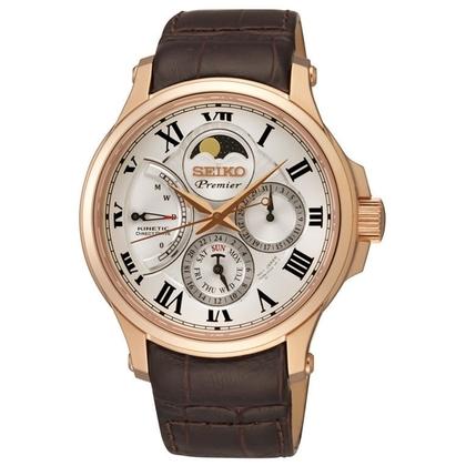Seiko Premier Watch Strap SRX008P1 Brown Leather