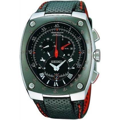 Seiko Sportura Watch Strap SNL017 Black Leather