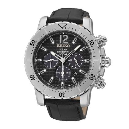 Seiko Solar Chronograph Watch Strap SSC223 Black Leather
