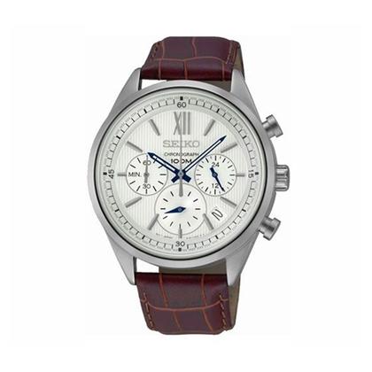 Seiko Chronograph Watch Strap SSB157 Brown Leather