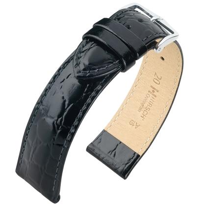 Hirsch Crocograin Watch Band Black