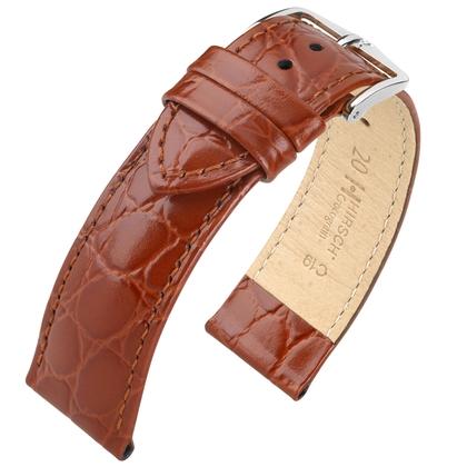 Hirsch Crocograin Watch Band Golden Brown