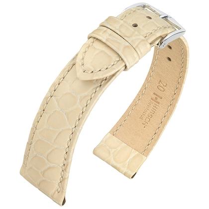 Hirsch Aristocrat Watch Band Crocograin Beige